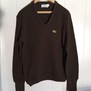 🔥 IZOD x Lacoste Rare Knit Brown Wool Cardigan L